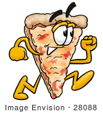 #28088 Clip Art Graphic Of A Cheese Pizza Slice Cartoon Character Running Fast