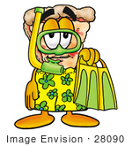 #28090 Clip Art Graphic Of A Cheese Pizza Slice Cartoon Character In Green And Yellow Snorkel Gear