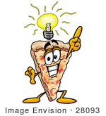 #28093 Clip Art Graphic Of A Cheese Pizza Slice Cartoon Character With A Lightbulb Over His Head