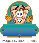 #28094 Clip Art Graphic Of A Cheese Pizza Slice Cartoon Character On A Blank Label
