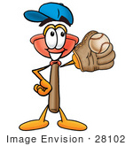 #28102 Clip Art Graphic Of A Plumbing Toilet Or Sink Plunger Cartoon Character Catching A Baseball With A Glove