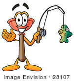 #28107 Clip Art Graphic Of A Plumbing Toilet Or Sink Plunger Cartoon Character Holding A Fish On A Fishing Pole