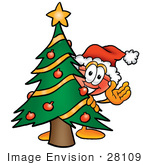#28109 Clip Art Graphic Of A Plumbing Toilet Or Sink Plunger Cartoon Character Waving And Standing By A Decorated Christmas Tree