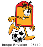 #28112 Clip Art Graphic Of A Red And Yellow Sales Price Tag Cartoon Character Kicking A Soccer Ball