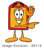 #28113 Clip Art Graphic Of A Red And Yellow Sales Price Tag Cartoon Character Waving And Pointing To The Right