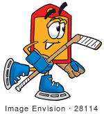 #28114 Clip Art Graphic Of A Red And Yellow Sales Price Tag Cartoon Character Playing Ice Hockey