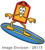#28115 Clip Art Graphic Of A Red And Yellow Sales Price Tag Cartoon Character Surfing On A Blue And Yellow Surfboard