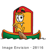 #28116 Clip Art Graphic Of A Red And Yellow Sales Price Tag Cartoon Character Rowing A Boat