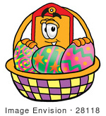 #28118 Clip Art Graphic Of A Red And Yellow Sales Price Tag Cartoon Character In An Easter Basket Full Of Decorated Easter Eggs