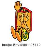 #28119 Clip Art Graphic Of A Red And Yellow Sales Price Tag Cartoon Character Plugging His Nose While Jumping Into Water