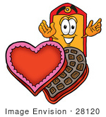 #28120 Clip Art Graphic Of A Red And Yellow Sales Price Tag Cartoon Character With An Open Box Of Valentines Day Chocolate Candies
