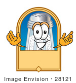 #28121 Clip Art Graphic Of A Salt Shaker Cartoon Character On A Blank Tan Label