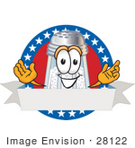 #28122 Clip Art Graphic Of A Salt Shaker Cartoon Character On A Blank Logo Label With A White Banner Red Background And Stars Over Blue