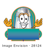 #28124 Clip Art Graphic Of A Salt Shaker Cartoon Character On A Blank Label