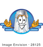 #28125 Clip Art Graphic Of A Salt Shaker Cartoon Character On A Blue Logo
