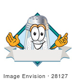 #28127 Clip Art Graphic Of A Salt Shaker Cartoon Character Over A Blank White Banner With A Blue Diamond On A Label Logo