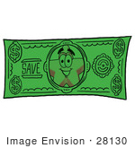 #28130 Clip Art Graphic Of A Yellow Star Cartoon Character On The Front Of A Green Dollar Bill