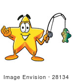 #28134 Clip Art Graphic Of A Yellow Star Cartoon Character Holding A Fish On A Fishing Pole While Fishing
