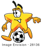 #28136 Clip Art Graphic Of A Yellow Star Cartoon Character Kicking A Soccer Ball During A Game