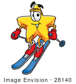 #28140 Clip Art Graphic Of A Yellow Star Cartoon Character Skiing Downhill