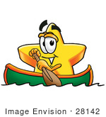 #28142 Clip Art Graphic Of A Yellow Star Cartoon Character Rowing A Boat