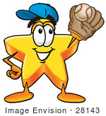 #28143 Clip Art Graphic Of A Yellow Star Cartoon Character Catching A Baseball With A Glove