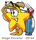 #28144 Clip Art Graphic Of A Yellow Star Cartoon Character Swinging His Golf Club While Golfing