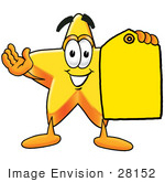 #28152 Clip Art Graphic Of A Yellow Star Cartoon Character Holding A Blank Yellow Sales Price Tag