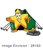 #28163 Clip Art Graphic Of A Yellow Star Cartoon Character Camping With A Tent And Fire
