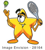 #28164 Clip Art Graphic Of A Yellow Star Cartoon Character Preparing To Hit A Tennis Ball