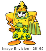 #28165 Clip Art Graphic Of A Yellow Star Cartoon Character In Green And Yellow Snorkel Gear
