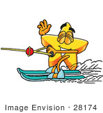 #28174 Clip Art Graphic Of A Yellow Star Cartoon Character Waving While Speeding Past On Waterskis