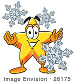#28175 Clip Art Graphic Of A Yellow Star Cartoon Character With Three Snowflakes In Winter