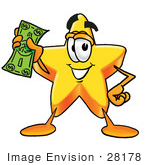 #28178 Clip Art Graphic Of A Yellow Star Cartoon Character Holding A Dollar Bill