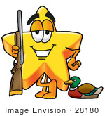 #28180 Clip Art Graphic Of A Yellow Star Cartoon Character Duck Hunting Standing With A Rifle And Duck