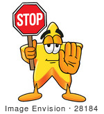 #28184 Clip Art Graphic Of A Yellow Star Cartoon Character Holding A Stop Sign