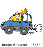 #28185 Clip Art Graphic Of A Yellow Star Cartoon Character Driving A Blue Car And Waving