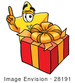 #28191 Clip Art Graphic Of A Yellow Star Cartoon Character Standing By A Christmas Present