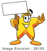 #28193 Clip Art Graphic Of A Yellow Star Cartoon Character Holding A Blank Sign