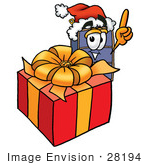 #28194 Clip Art Graphic Of A Suitcase Luggage Cartoon Character Standing By A Christmas Present