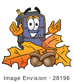 #28196 Clip Art Graphic Of A Suitcase Luggage Cartoon Character With Autumn Leaves And Acorns In The Fall