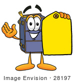 #28197 Clip Art Graphic Of A Suitcase Luggage Cartoon Character Holding A Yellow Sales Price Tag