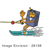 #28198 Clip Art Graphic Of A Suitcase Luggage Cartoon Character Waving While Water Skiing