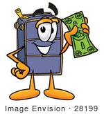 #28199 Clip Art Graphic Of A Suitcase Luggage Cartoon Character Holding A Dollar Bill