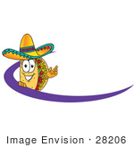 #28206 Clip Art Graphic Of A Crunchy Hard Taco Character Wearing A Sombrero Standing Behind A Purple Dash On An Employee Nametag Or Business Logo by toons4biz