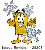 #28208 Clip Art Graphic Of A Golden Admission Ticket Character With Three Snowflakes In Winter