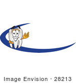 #28213 Clip Art Graphic Of A Human Molar Tooth Character Waving And Standing Behind A Blue Dash On An Employee Nametag Or Business Logo by toons4biz