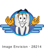 #28214 Clip Art Graphic of a Human Molar Tooth Character on a Blue Logo by toons4biz