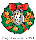 #28221 Clip Art Graphic Of A Metal Trash Can Cartoon Character In The Center Of A Christmas Wreath