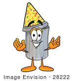 #28222 Clip Art Graphic Of A Metal Trash Can Cartoon Character Wearing A Birthday Party Hat